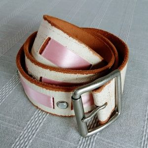 Linea Pelle Distressed Leather Belt Small w Pink